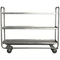 Galvanized Steel Industrial Metal Trolley On Wheels