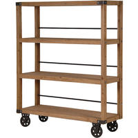 Manhattan Wood & Iron Shelving Unit On Wheels