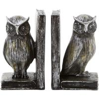Owl Bookends in Antiqued Silver Finish
