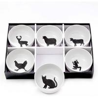 6 Cereal Bowls - Black Animals