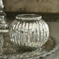 Jewelled Silver Globe Tealight Holder