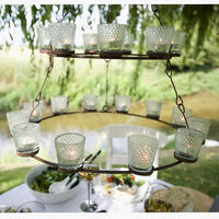 Rustic T-Light Chandelier - Double Tier