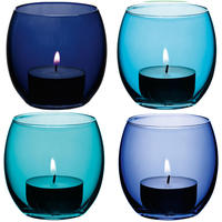 LSA - Coro Assorted Lagoon Tealight Holder - Set of 4