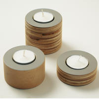 Grey wooden tea light holders