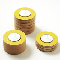 NEW wooden yellow tea light holders