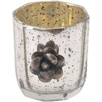Ameena Floral Silver Glass Tealight Holders - Set of 4