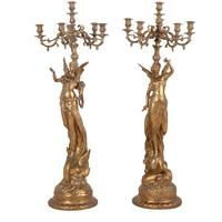 Pair Of Gold Nymph Candelabra