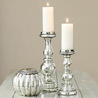 Antique Silver Glass Candlesticks