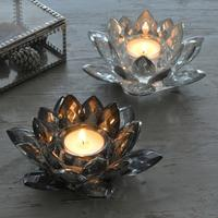 Silver/Smoke Lotus Flower Tealight Holder
