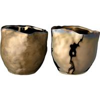 Bloomingville Pair of Gold and Bronze Ceramic Votive