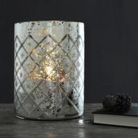 Silver Etched Glass Hurricane Lantern