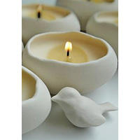 Porcelain and soy double candle egg set with porcelain bird.  Cracking stuff!