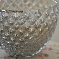 Dimpled Antique Silver Candle Pot