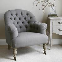 Linen Button Back Armchair in Grey