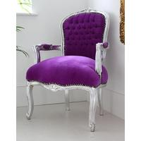 Purple Louis Armchair With Silver Frame