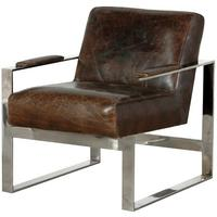 Mayfair Brown leather and stainless steel armchair