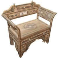 Oak Square Arm Chair with Bone Inlay Detail