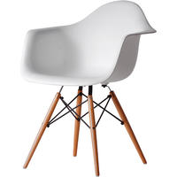 White Eiffel Style Armchair With Wooden Legs