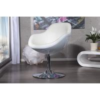 JUPITER - design armchair white-white faux leather lounge swivel pod chair
