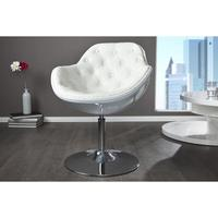 JUPITER - design armchair white-white quilted faux leather lounge swivel pod chair