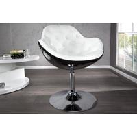 JUPITER - design armchair black-white quilted faux leather lounge swivel pod chair
