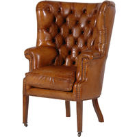 Italian leather buttoned chair