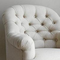 Linen Button Back Armchair (Natural)