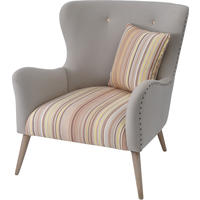Ergo Retro Striped Button-Back Cream Chair