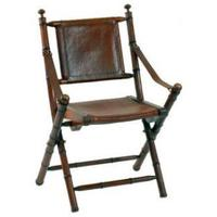 Teak Leather Bamboo Campaign Chair