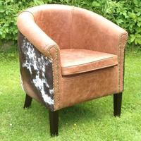 Leather and hide Fulham Tub Chair IN STOCK  30% OFF