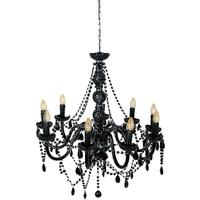 Mariah Large 9 Arm Black Glass Chandelier