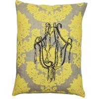 Handmade cushion on natural linen – Chandelier Design, yellow