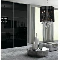 Plush Black Shade Double Crystal Chandelier