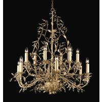 Esmeralda 12 Arm 2 Tier Cream Gold Leaf Chandelier