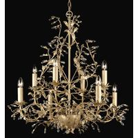 Esmeralda 8 Arm 2 Tier Cream Gold Leaf Chandelier