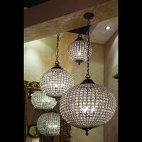 Cognac Antique Brass Crystal Ball Chandelier