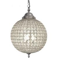 Cognac Pewter Crystal Ball Chandelier