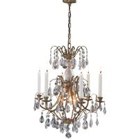 Delilah Antique Brass Crystal Candle Chandelier
