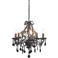 Ornate Black Glass Bead Chandelier
