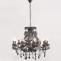 Ornate Large Black Glass Chandelier