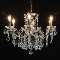 Six Arm Bronze Shallow Chandelier