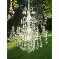 Large White Distressed Crystal Chandelier