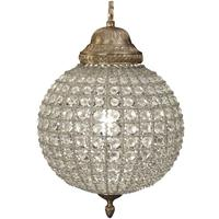 Round Crystal Effect Chandelier with Leaf Decoration - Large