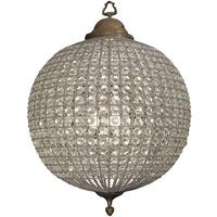 Round Crystal Effect Chandelier with Leaf Decoration - Small