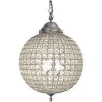 Round Crystal Pewter Chandelier with Leaf Decoration - Medium
