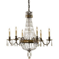 Paris 6 Arm Antique Bronze Crystal Chandelier