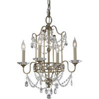 Gia 4 Arm Gilded Silver Crystal Chandelier