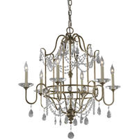 Gia 6 Arm Gilded Silver Crystal Chandelier