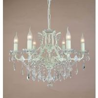 Adele Crackled Cream 6 Arm Chandelier