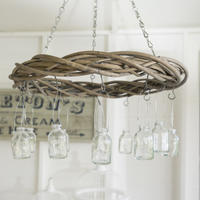 Hanging Wicker Chandelier Wreath